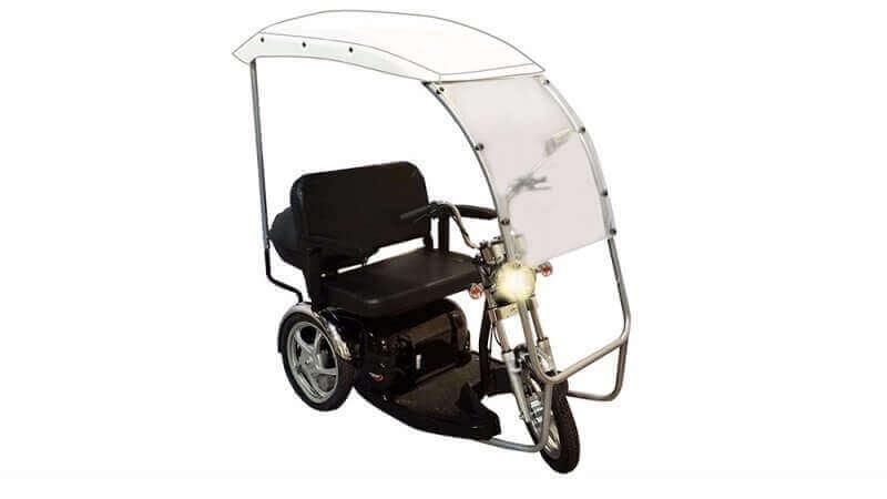 קלנועית זוגי עם מגן גשם ומושב בצבע שחור
