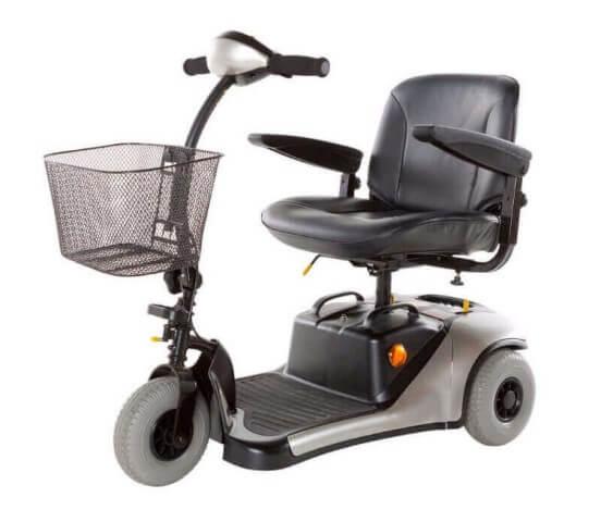 קלנועית מיני כסופה עם שלושה גלגלים וסל מקדימה